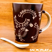 Cappuccino Mug with Spoon best unique birthday return gift for kids and adults buy online-Snooplay.in