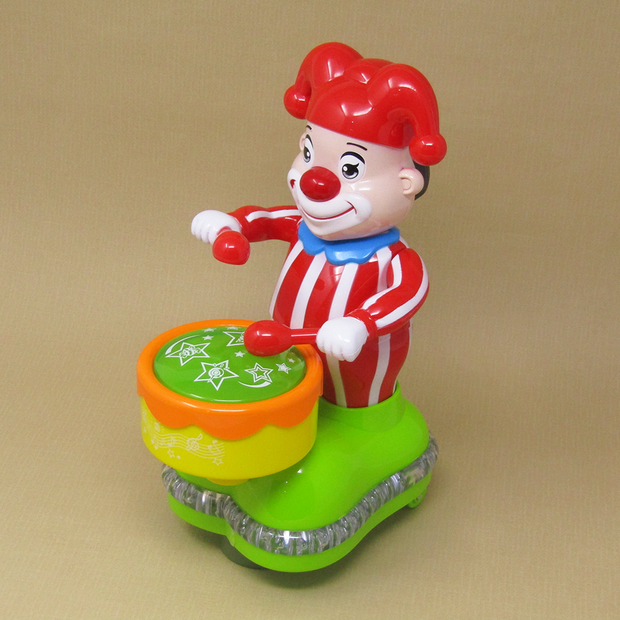 Happy Clown Drum Beating Musical Toy (Joker Toy with Music and Lights)