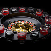 Shot Glass Roulette with Shot Glasses (Casino Drinking Game) - Black Coloured Base