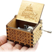 Vintage designed, Happy birthday theme hand engraved wooden box, with crank for turning.