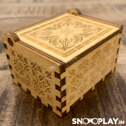 The perfect size, portable unique musical box with high quality decoration, with a hand crank.