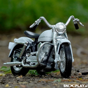 Buy Harley Davidson 1952 K Model 1:18 Scale Die Cast Bike Model (White) Online India Miniature Collectible Bike Front