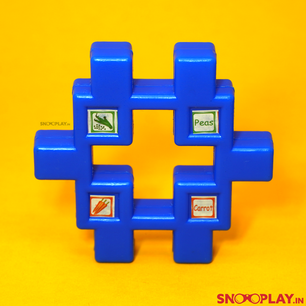 This set of blocks give out information about english alphabets, fruits and all the objects we encounter on a daily basis.