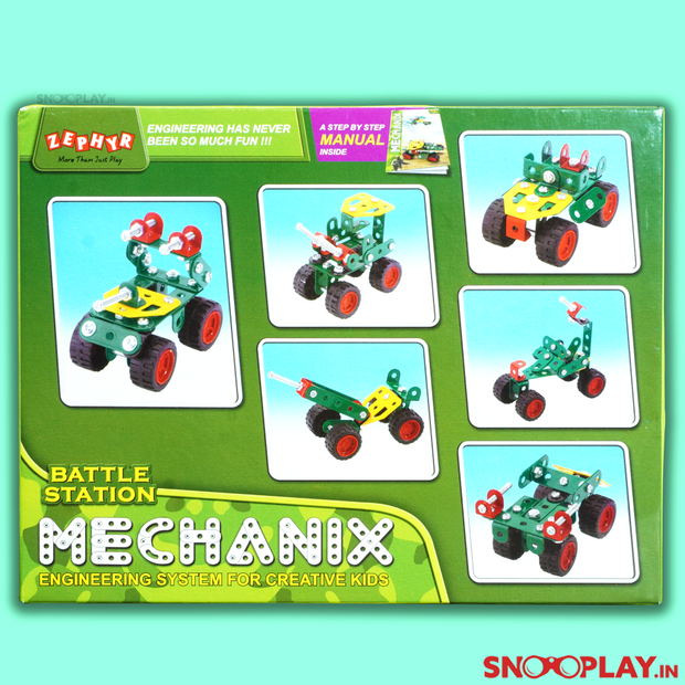 The all new Mechanix edition is here- Battle Station. This Builder game consists of Nuts, Bolts, Multipurpose parts and all the parts required to build those crazy war machine toys