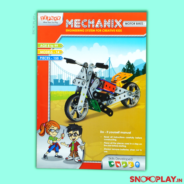 14 Types of Model Bikes can be made from this Mechanix builder set.