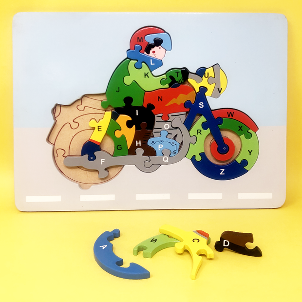 Wooden Motorbike With Alphabet Jigsaw Puzzle