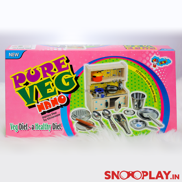 Buy Kitchen Set With Stainless Steel Utensils Stove For Girls Kids
