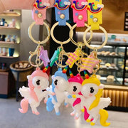 Colourful 3D Unicorn Keychains with Wings (Lobster Clasp Hook)