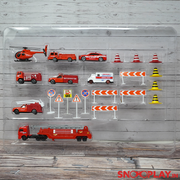 Fire Department Toy Set - With Diecast Metal Cars, Trucks, Helicopter and Playmat