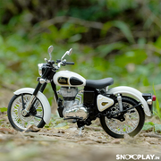 Buy Royal Enfield Classic 350 Die Cast Bike Model (White) 1:12 Scale model for home Decor and collectors Left