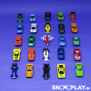 Buy 25 pieces free wheel car toy set for kids online india-Snooplay.in