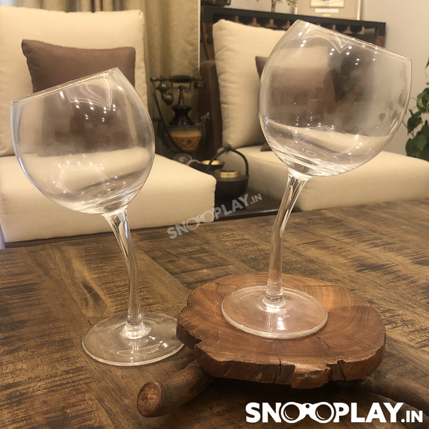 Tilted Wine Glasses (Set of 2) - Buy Tipsy Wine Glasses Set 380 ml volume Premium Party Wine Glasses