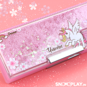 Unicorn Liquid Glitter Filled Multi functional Pencil Box With Sharpener