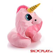 Cute Unicorn Hoodie Travel Neck Pillow (Blue & Pink)
