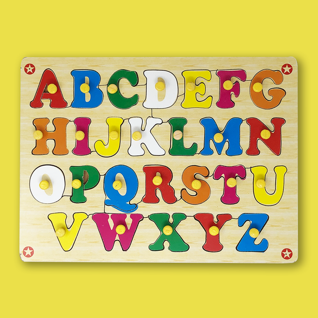 Wooden Big Capital Letters English Alphabets Blocks Learning Toy Set