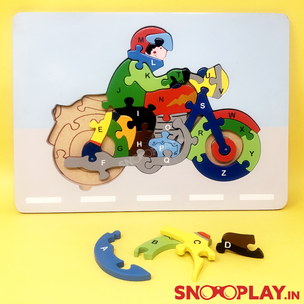 Wooden Moterbike Alphabet Jigsaw Puzzle - Buy Safe Wooden Educational Blocks and Puzzles India best Price