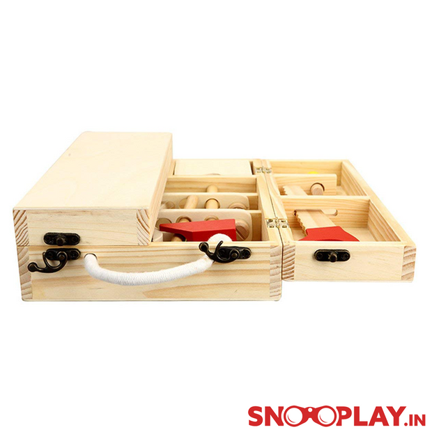 Wooden Carpenter Tool Kit Box Set learning Educational Toys games for kids toddlers children online india