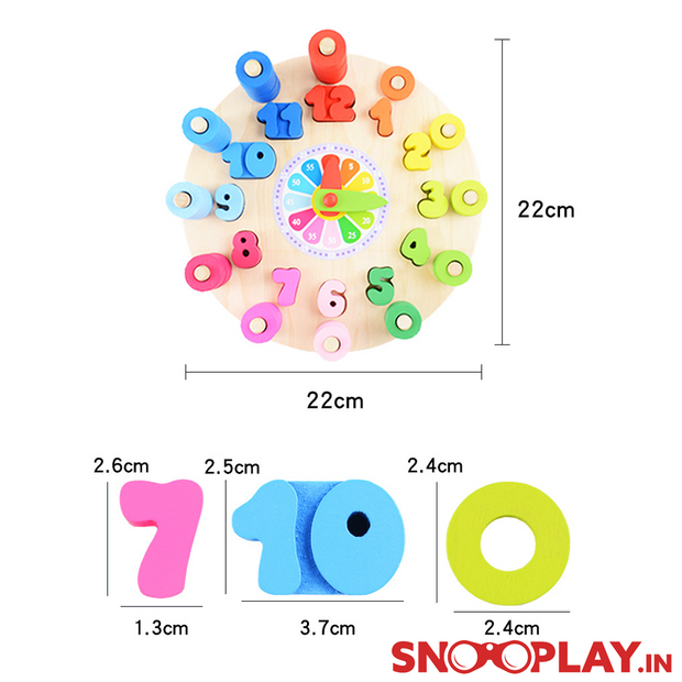 Wooden Clock and Maths Toy Learning and educational game toy for kids toddlers newborn online india