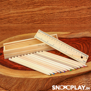 5 Packs of Wooden Pencil Box (Each Pack contains 1 Pencil Box,  12 Color Pencils & 1 Scale)
