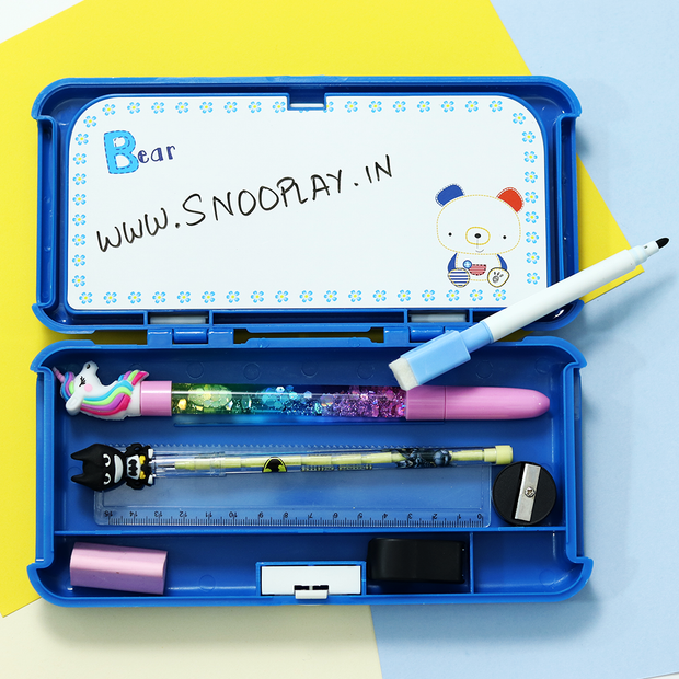 Buy My Bear Blue Pencil Box with 2 compartment, white board, marker & Eraser Duster Pencil Box Online India Best Price