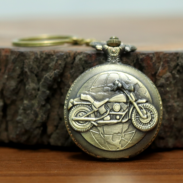 Motorcycle Engraved Antique Analog Pocket Watch Vintage Keychain