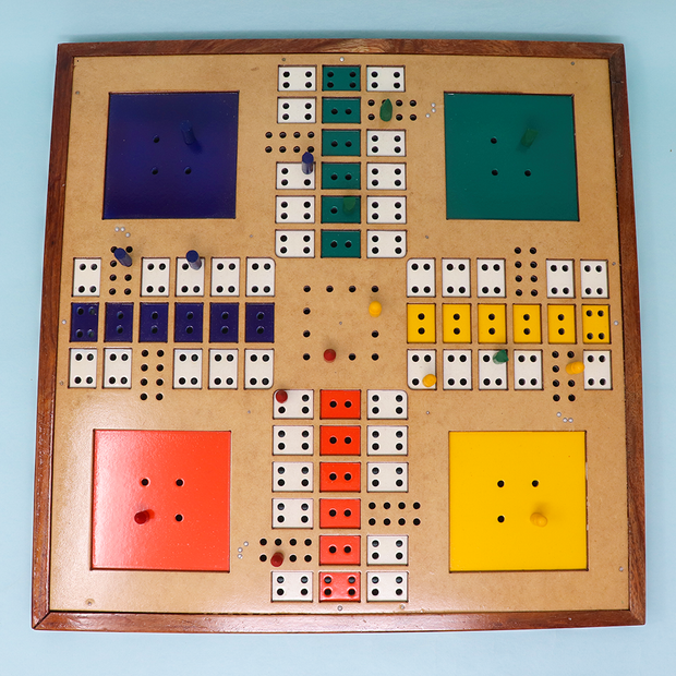 Braille Ludo Wooden Board Game for Blind (Hand Painted)