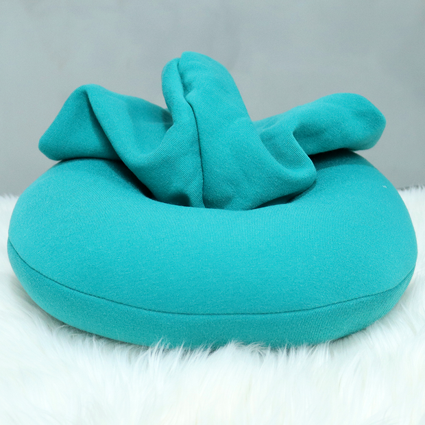 Hoodie Style Neck Pillow (Blue & Black)