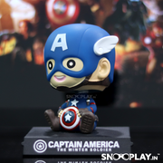 Captain America Bobblehead with a wide smile and holding his classic shield for super hero fans.