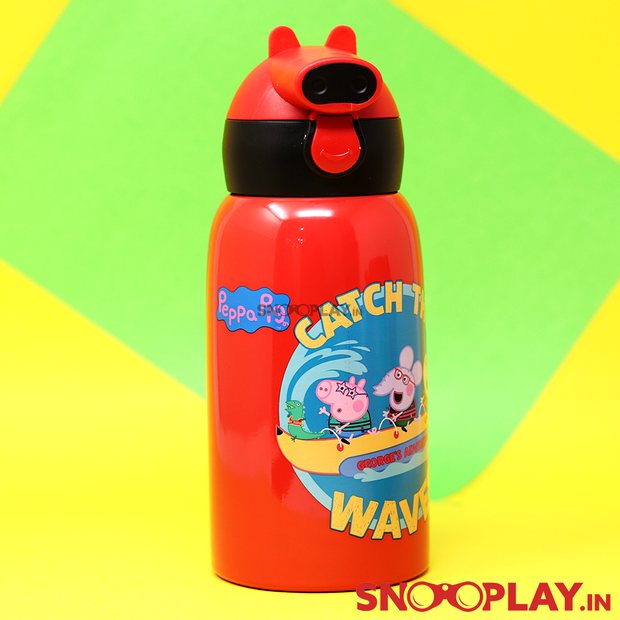 Buy Youp - Peppa Pig Thermo Steel Bottle School Water Bottle (550 ml) School Water Bottle with zipper pouch cover for school playschool Printed water bottle with neck string