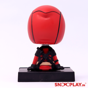 The back image of deadpool action figure with bobbehead that serves as a great gift for deadpool and marvel fans alike.