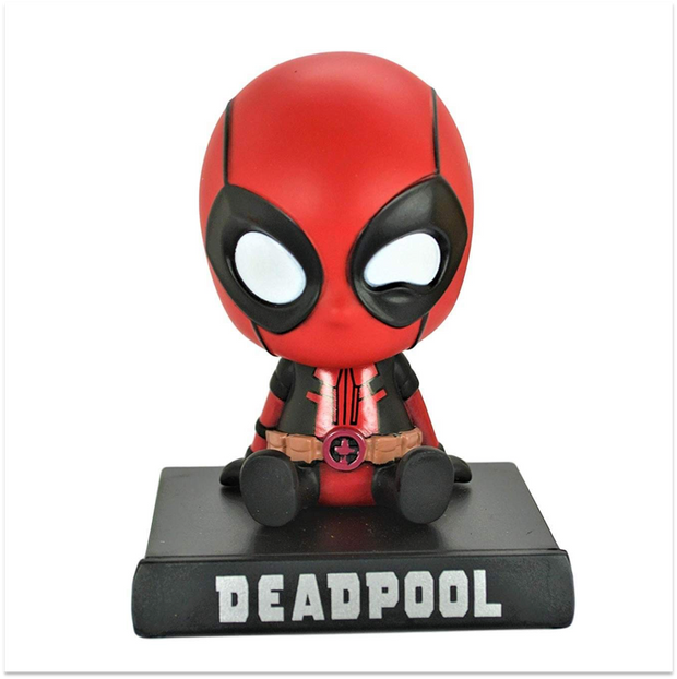 The coolest, completely savage Deadpool superhero with his bobblehead and a phone stand that is perfect for decoration purposes.