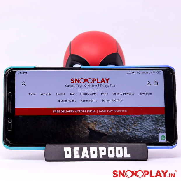 Marvel character, Deadpool bobblehead action figure, showcasing its mobile holder.