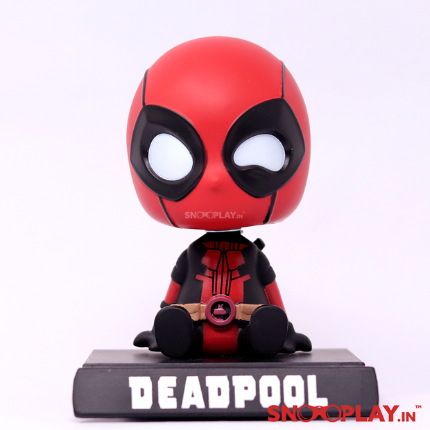 Deadpool bobblehead action figure, a portable collectible for Avengers and Marvel fans, for personal collection use or dashboard accessory.