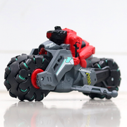 This RC drift bike has a in-built rechargeable battery that can be charged using the USB cable provided with the RC toy. The USB cable can be plugged to a PC as well as an adapter to charge the toy bike.