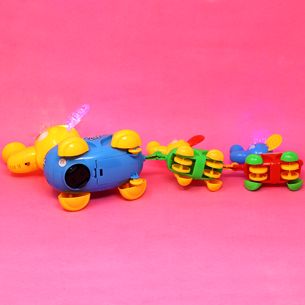 Cute Elephant Toy Train with Music and Light (Bump & Go Toy)