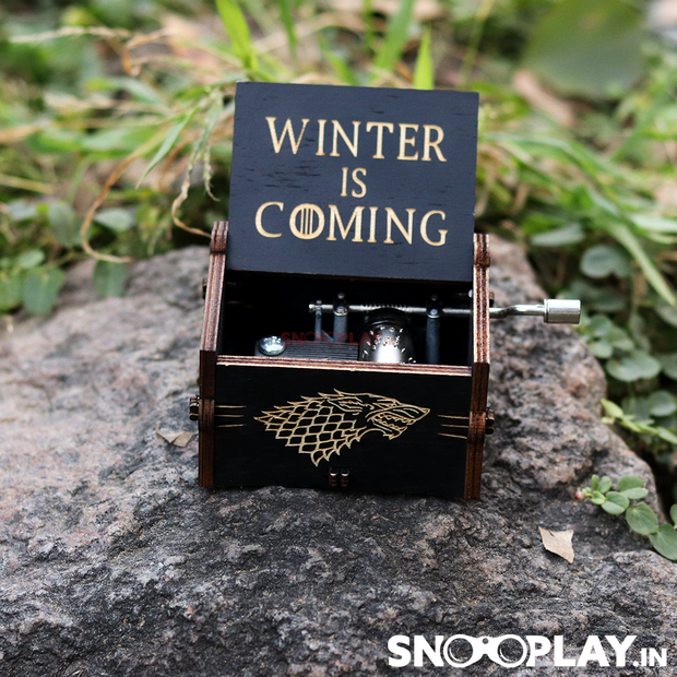 "Original hand cranked musical box with the very famous lines engraved ""WINTER IS COMING""."