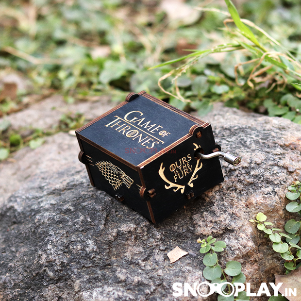 Game of Thrones theme hand engraved wooden musical box with hand crank, portable and easy to carry, perfect for gifting to all the GOT fans.