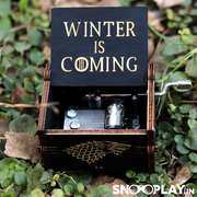 """Winter is coming"", the infamous motto of the House of Stark , engraved musical box, with hand crank, to add a magical charm to any place."