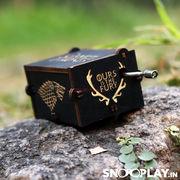 "The lightweight, portable and beautifully carved GOT hand engraved wooden music box that says the very famous dialogue ""Ours is the Fury'."