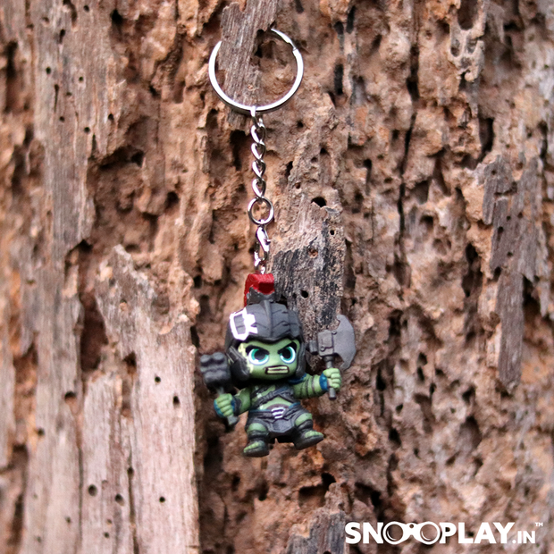 Marvel Thor-Rangnoaok ready to fight keyring for bike or car, kept on the branch of the tree.