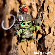 Marvel Hulk ,from the Thor Rangnarok , bobblehead keychain for bikes or cars, placed on the rock.