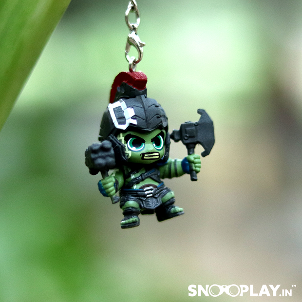 A character from Thor Rangnarok, Hulk keychain of height 1.575 inches