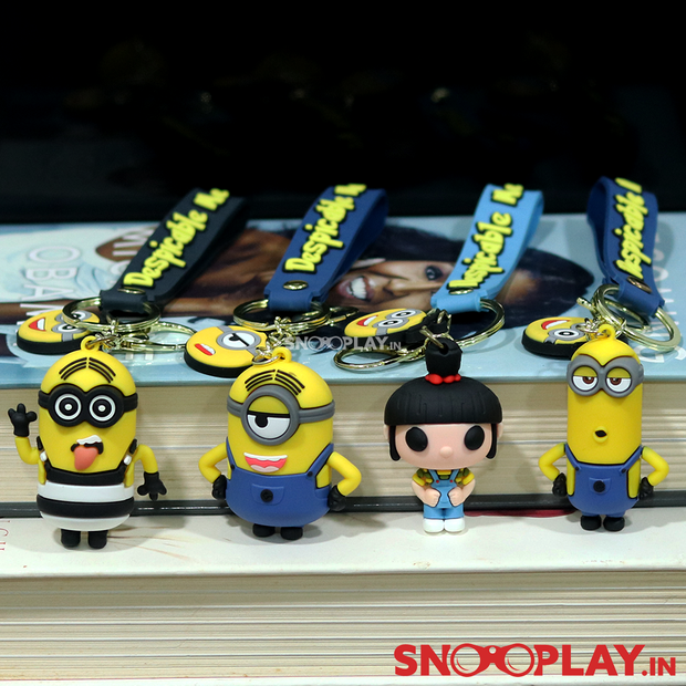The Minion Action Figure Keychains resemble characters of Despicable Me -Kevin, Stuart, Agnes and Bob