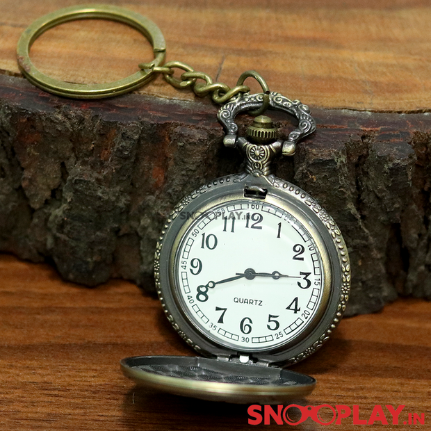 MOM Engraved Antique Analog Pocket Watch Vintage Keychain