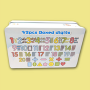 32 Pieces Boxed Digits (Wooden Numbers and Symbols)