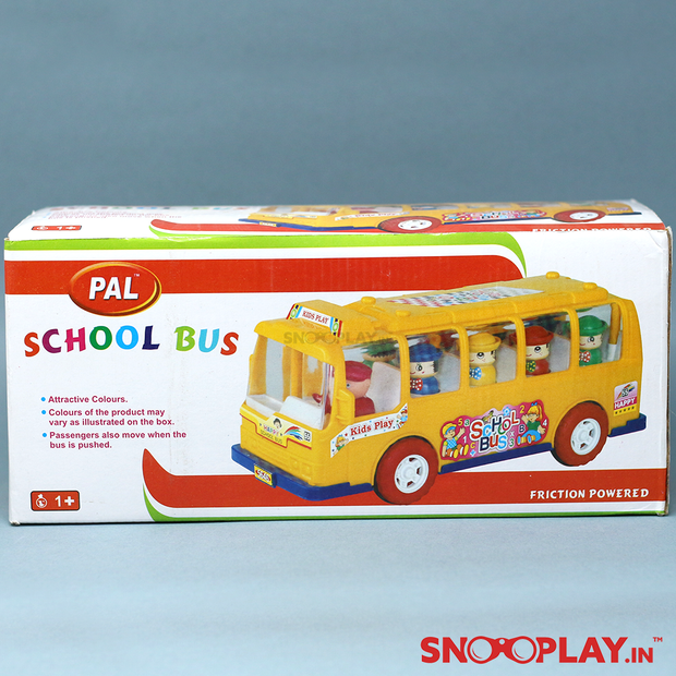 Buy friction powered school bus toy with moving passenger- Snooplay.in for kids