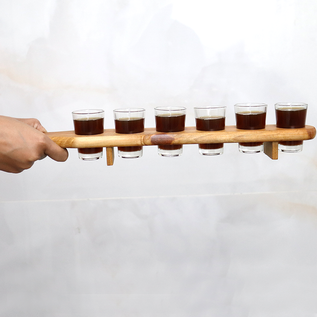 Wooden Shot Glass Holder (With 6 Shot Glasses) for Parties