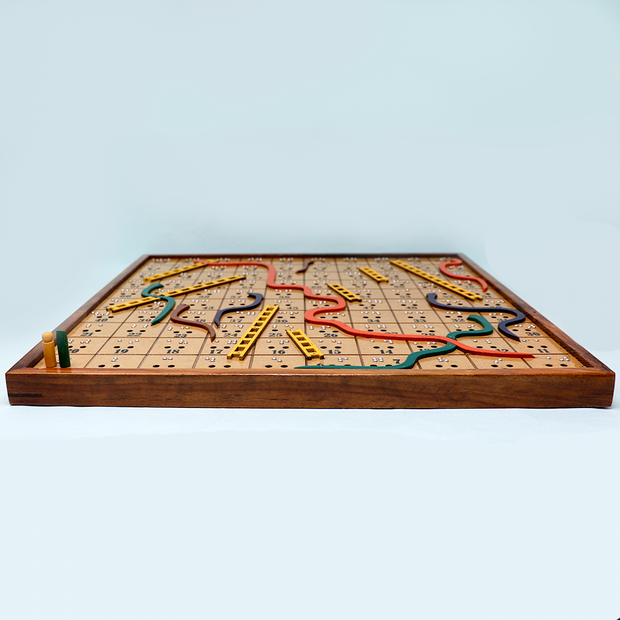 Braille Snakes & Ladders Wooden Board Game for The Blind (Hand Painted)