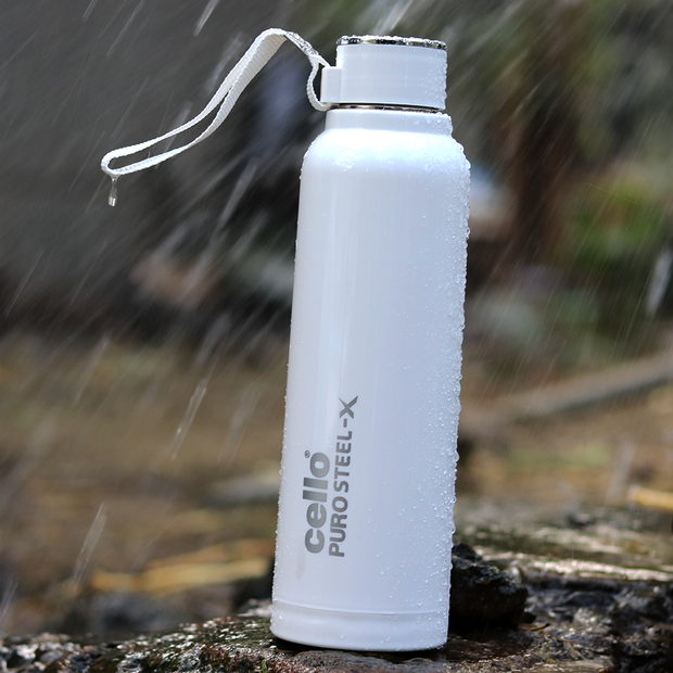 Cello Purosteel All White Classy Water Bottle (900 ml)