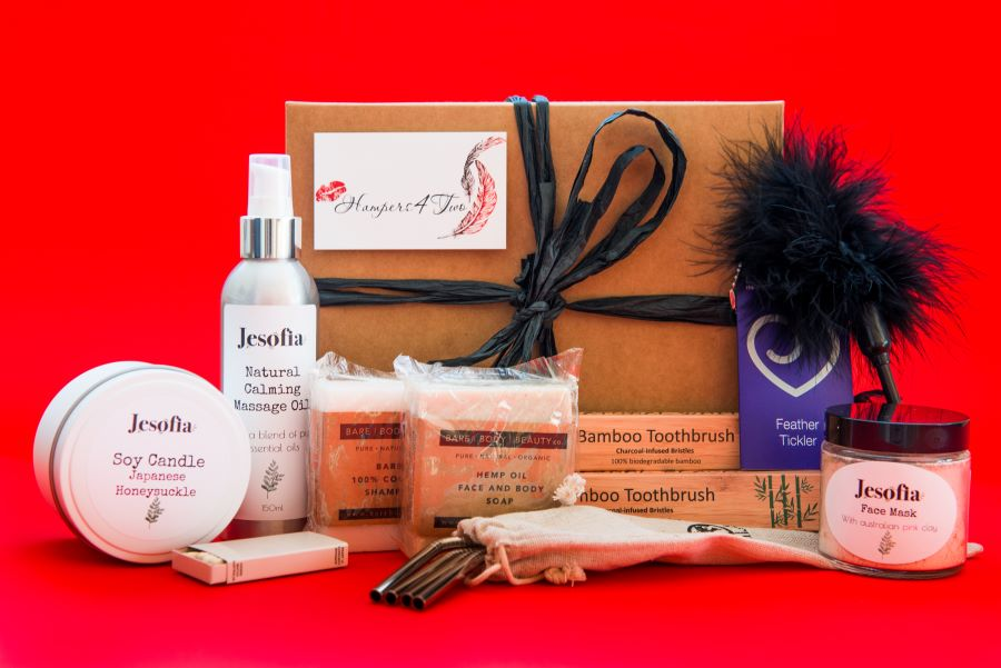 gift hamper with beauty products